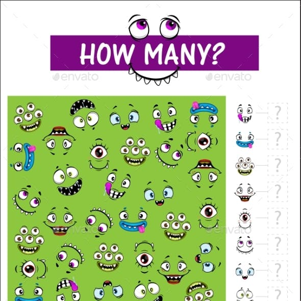 Kids Game How Many Monster Muzzles Vector Riddle