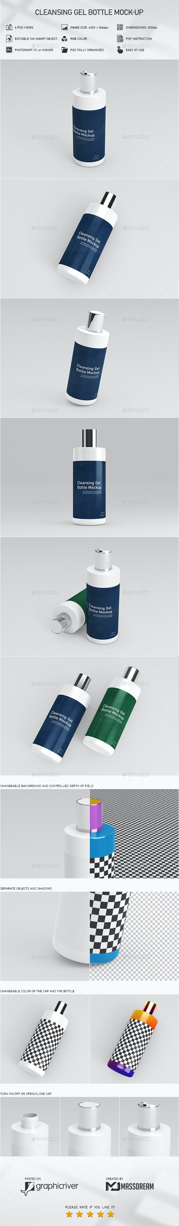 Cleansing Gel Bottle Mock-Up - Product Mock-Ups Graphics