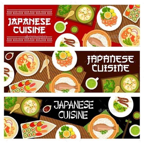Japanese Cuisine Food Japan Menu Banners Sushi