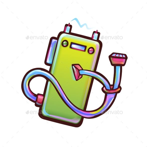 Green Cartoon Power Bank with Forked Wire