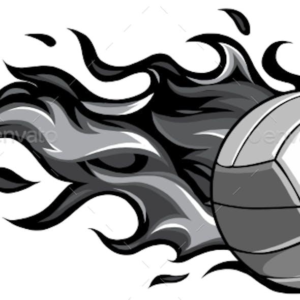 Volleyball Flaming Ball Cartoon Vector