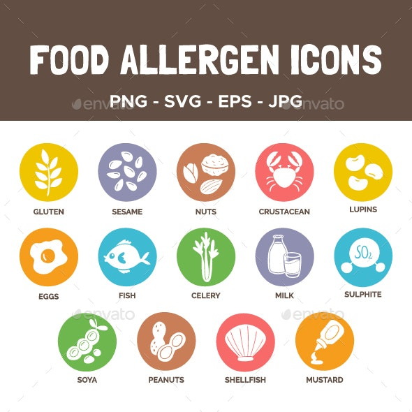 Food Allergen Icons - Food Objects
