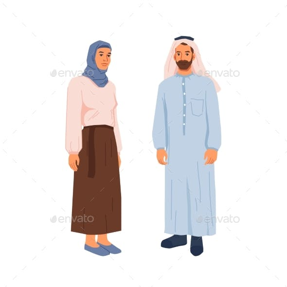 Muslims Couple in Traditional Dress Hijab