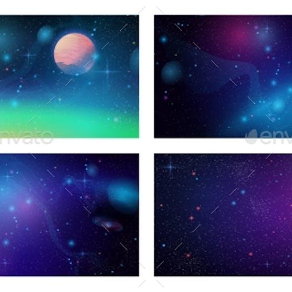 Futuristic Space Backgrounds Set Cosmic Galaxy