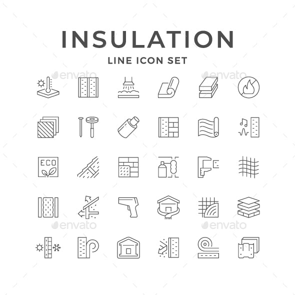 Set Line Icons of Insulation - Man-made objects Objects