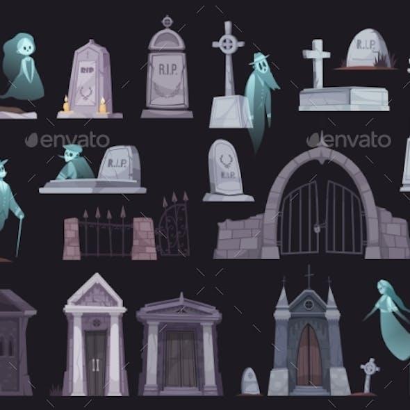 Cemetery Cartoon Set