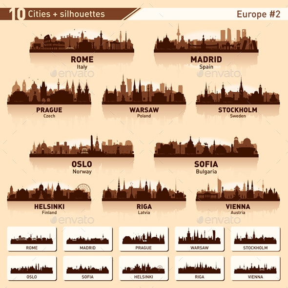 City skyline set. 10 city silhouettes of Europe. Vol. 2 - Buildings Objects