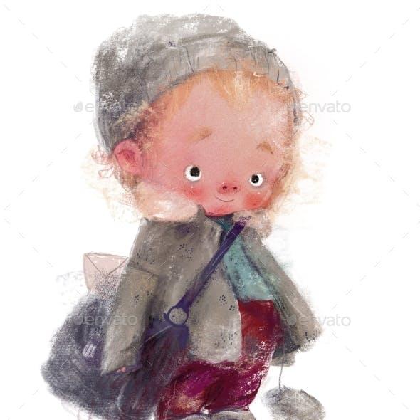 Cute Little Winter Boy Postman