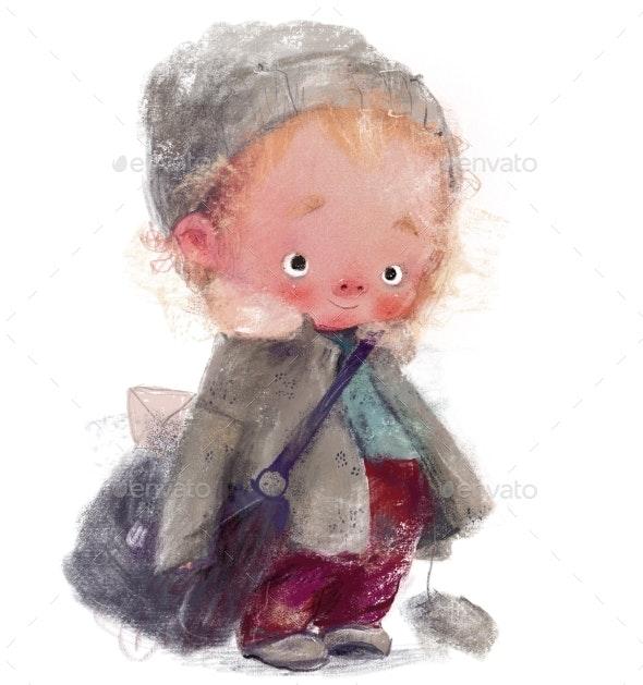 Cute Little Winter Boy Postman - People Illustrations