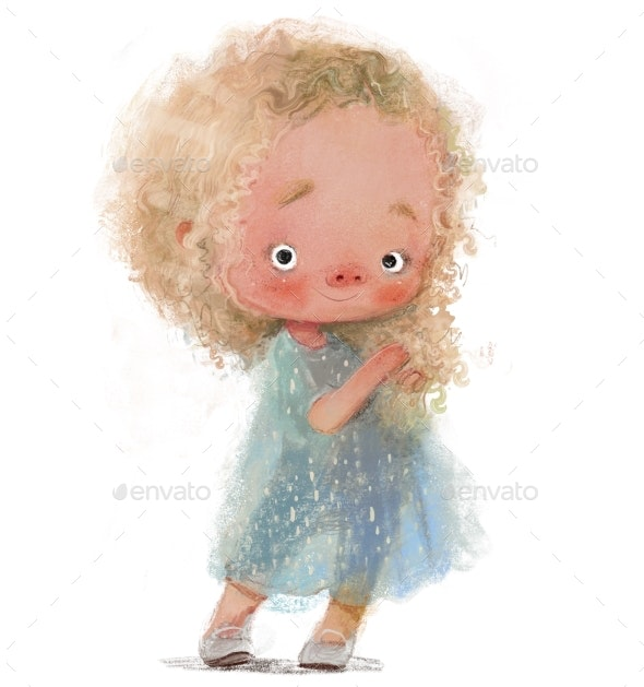 Cute Little Blonde Girl with Lovely Dress - People Illustrations