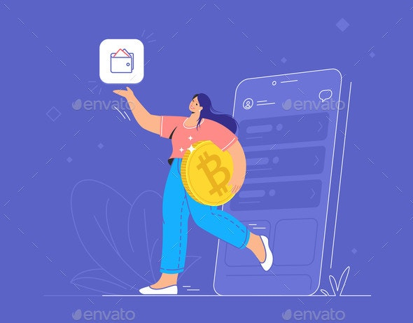 Young Woman Holding a Big Golden Bitcoin - Miscellaneous Vectors