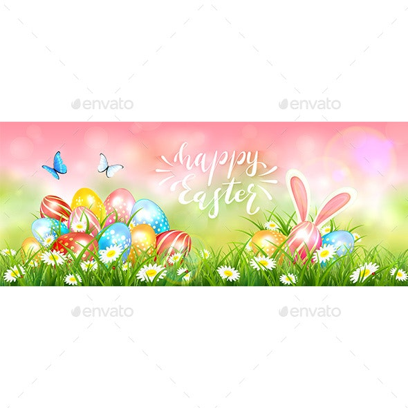 Pink Easter Background with Colorful Eggs - Miscellaneous Seasons/Holidays