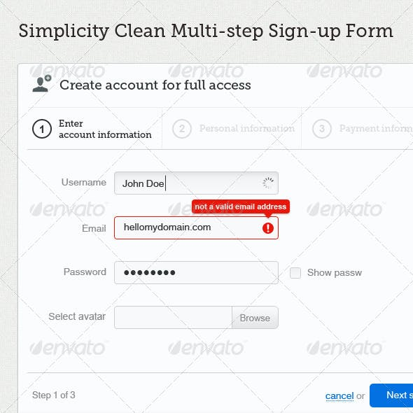 Simplicity - Clean Multi-step Signup Form