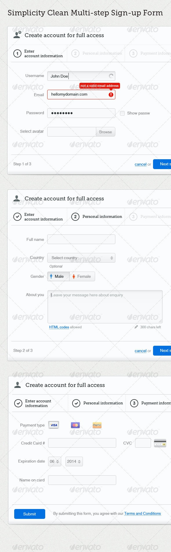 Simplicity - Clean Multi-step Signup Form - Forms Web Elements