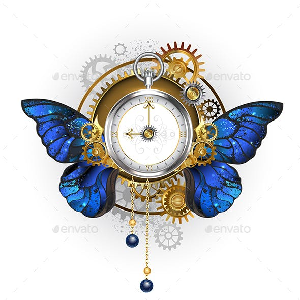 Antique Clock with Morpho Butterfly Wings