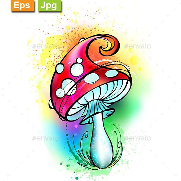 Bright Amanita Mushroom
