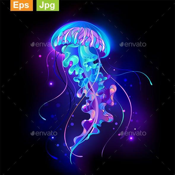Large Glowing Jellyfish