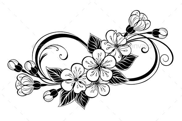 Silhouette Infinity with Sakura - Tattoos Vectors