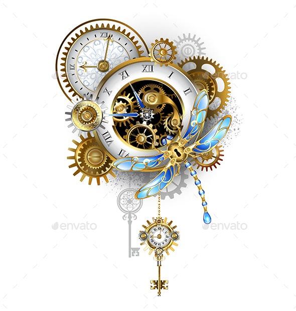 Steampunk Dragonfly with Clock - Decorative Symbols Decorative