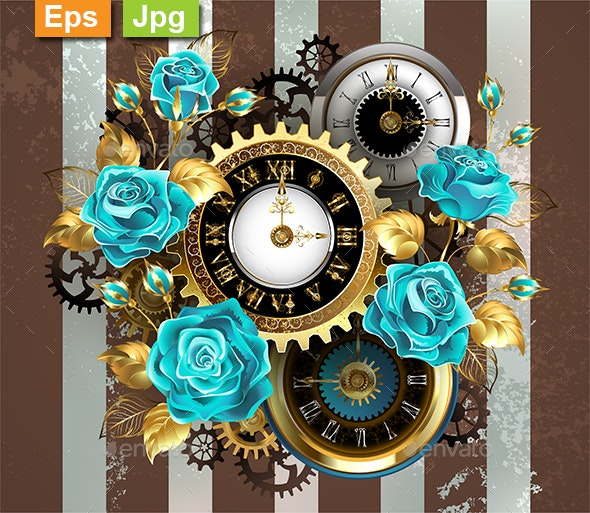 Striped Background with Clock and Turquoise Roses - Backgrounds Decorative