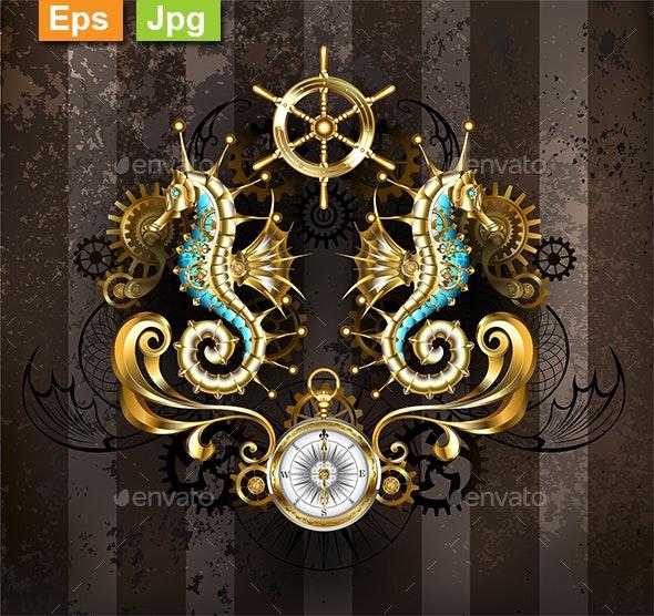 Symmetrical Composition with Seahorse - Backgrounds Decorative