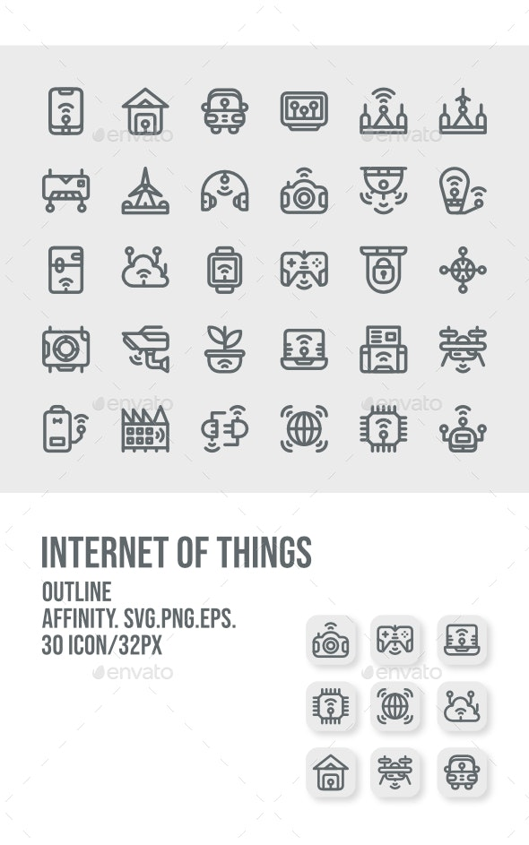 30 Internet Of Things Outline Icon - Technology Icons