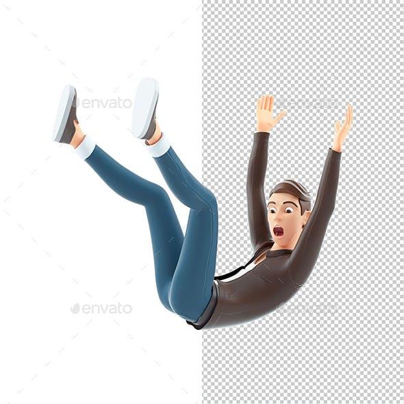 3D Cartoon Man Falling from Height