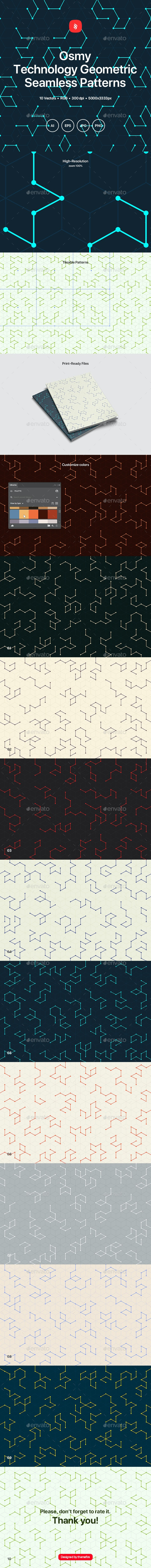 Osmy - Technology Geometric Seamless Patterns - Patterns Backgrounds