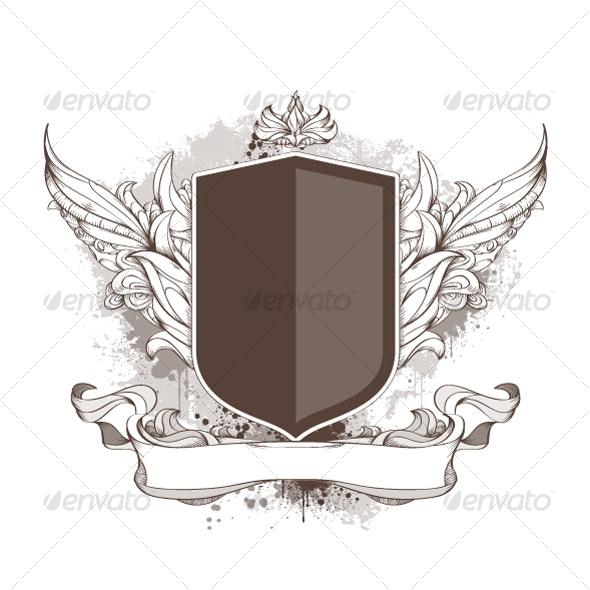 Badge and bizarre pattern on dirty background - Decorative Symbols Decorative