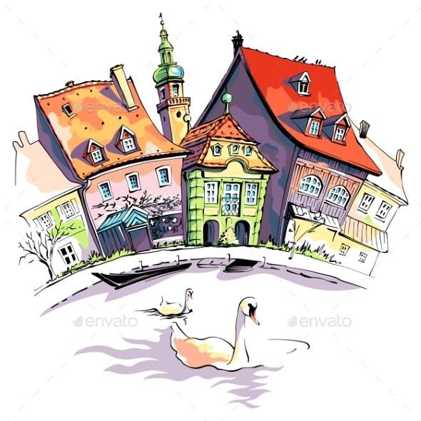 Vector Sketch of Little Venice in Bamberg
