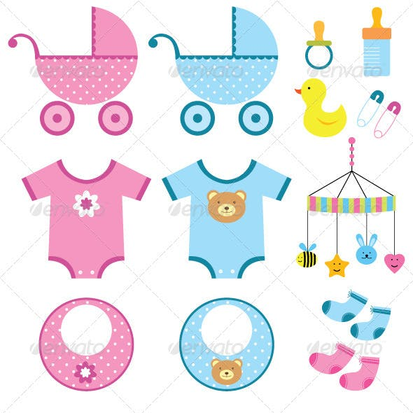 Baby boy and girl vector set.