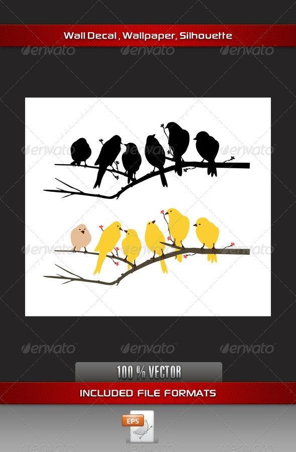 Yellow Bird Wall Decla - Animals Characters