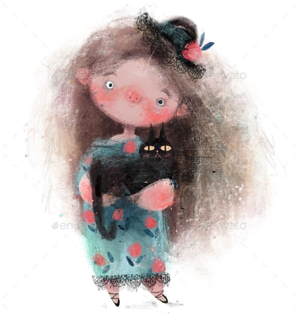 Cute Little Girl Withhat and Black Cat - People Illustrations