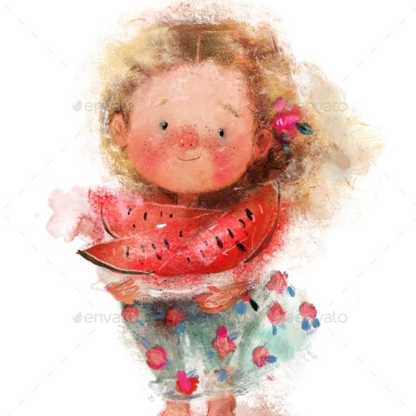 Cute Little Girl with Watermelon in Hands