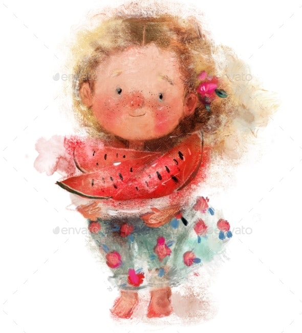 Cute Little Girl with Watermelon in Hands - People Illustrations
