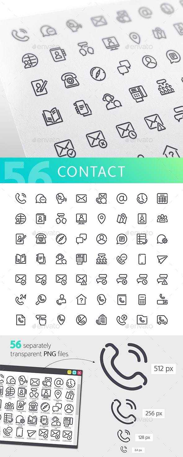 Contact Line Icons Set - Technology Icons