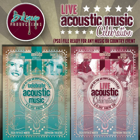 Live Acoustic Music Celebration Flyer Poster