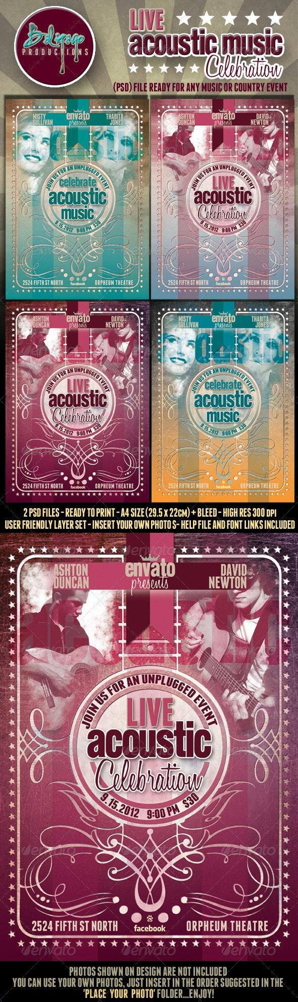 Live Acoustic Music Celebration Flyer Poster - Concerts Events