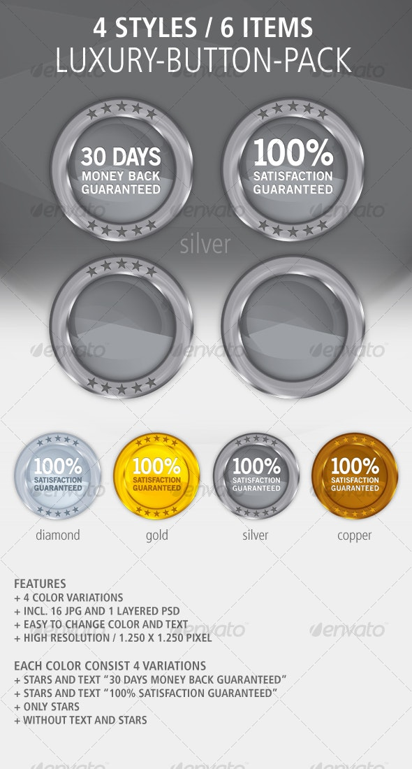 4 Color Button-Set: Glossy / Metal / Luxury - Buttons Web Elements