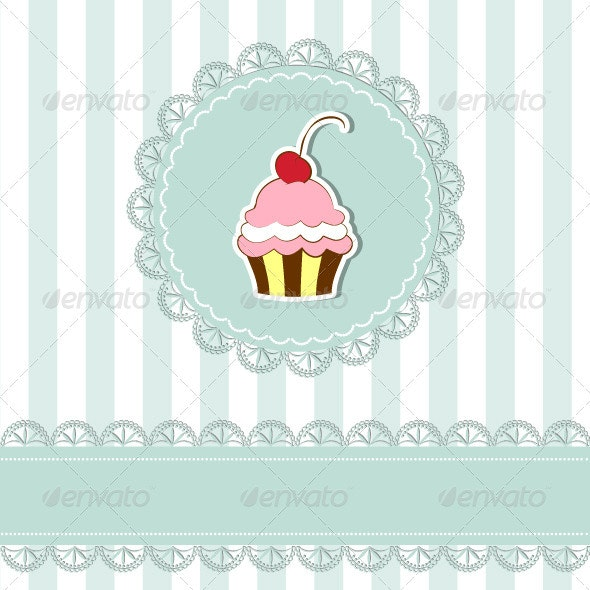 Cherry Cupcake Invitation Card - Backgrounds Decorative