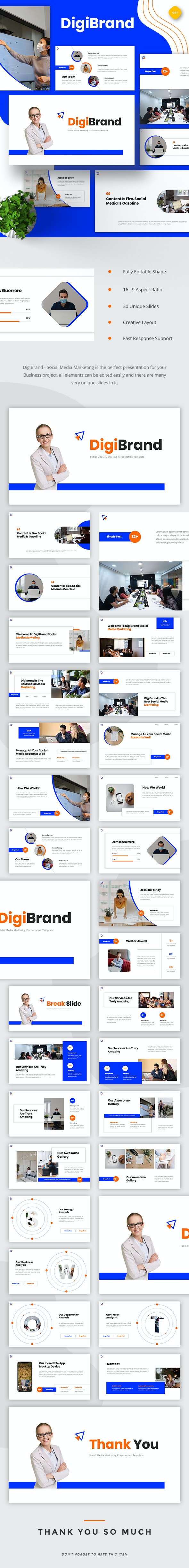 DigiBrand - Social Media Marketing Google Slides - Google Slides Presentation Templates
