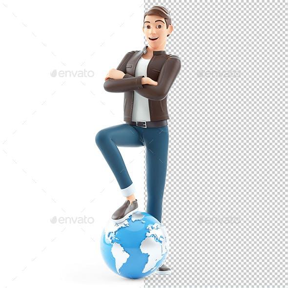 3D Cartoon Man Foot on the Earth