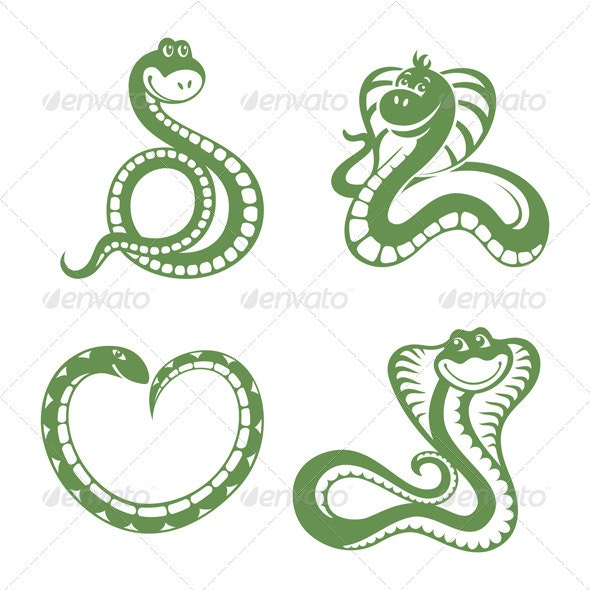 Set Of Funny Snakes - Animals Characters