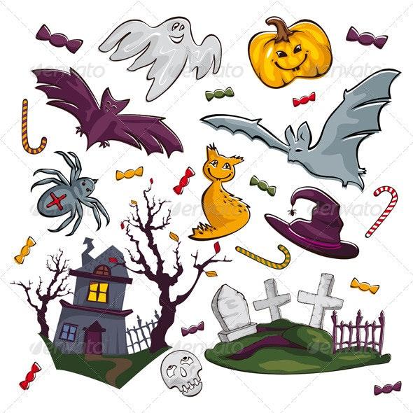 Set Of Halloween Objects - Halloween Seasons/Holidays