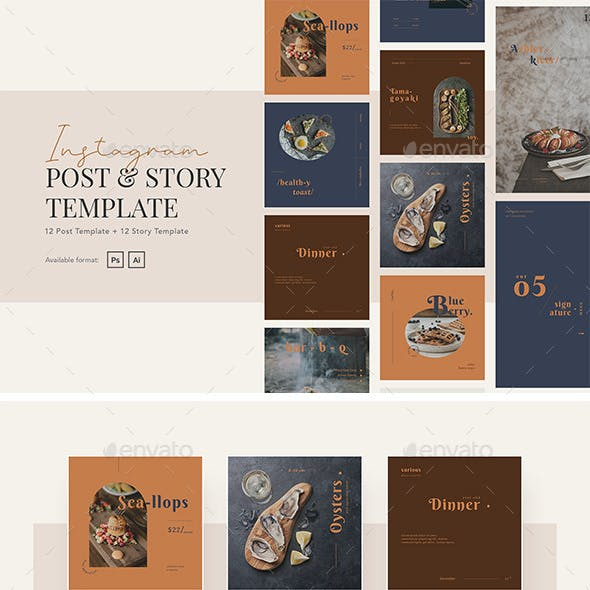 Elegant and Beauty Restaurant Instagram Post and Story Template