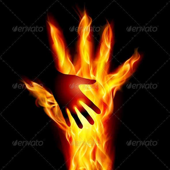 Burning helping hand - Objects Vectors