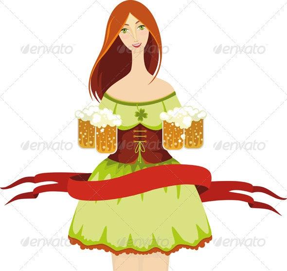 Oktoberfest Girl Beer Isolated - People Characters