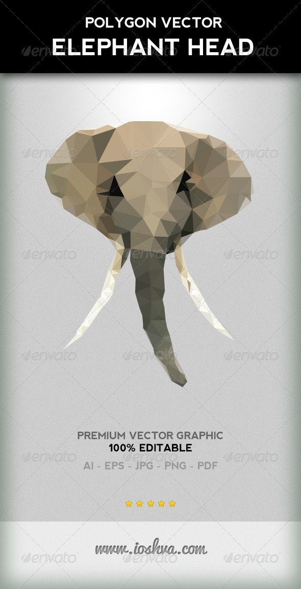 Polygon Triangular Vector Elephant Head With Tusks - Animals Characters