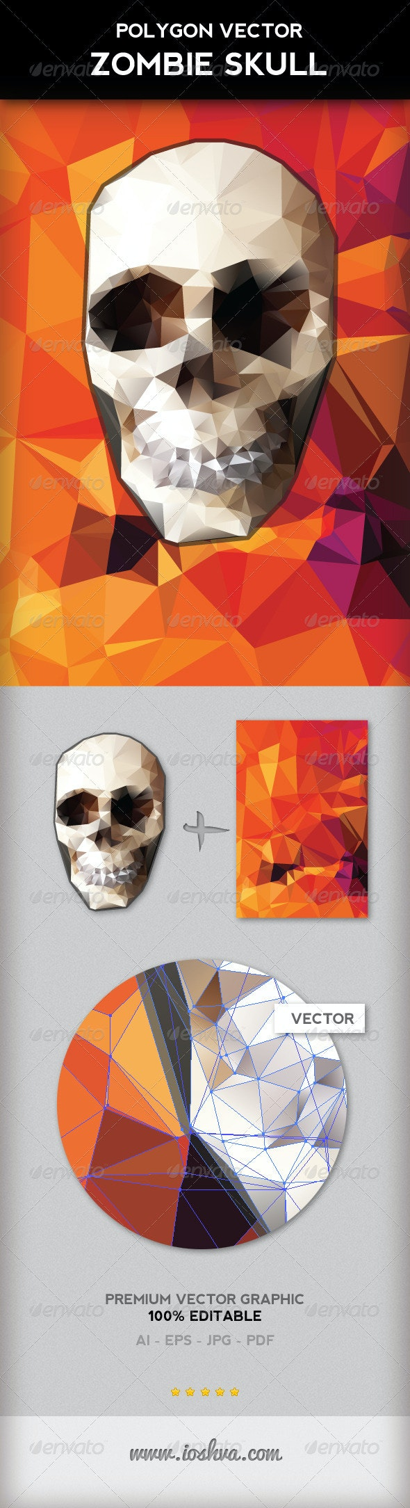 Polygon Vector Skull & Vibrant Polygon Background - Monsters Characters
