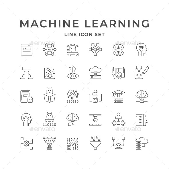 Set Line Icons of Machine Learning - Technology Icons